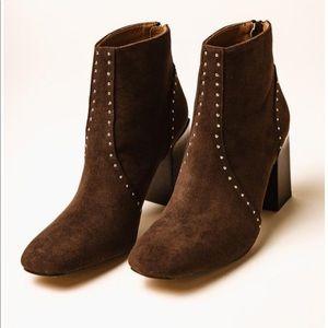 Brown Studded Heeled Booties